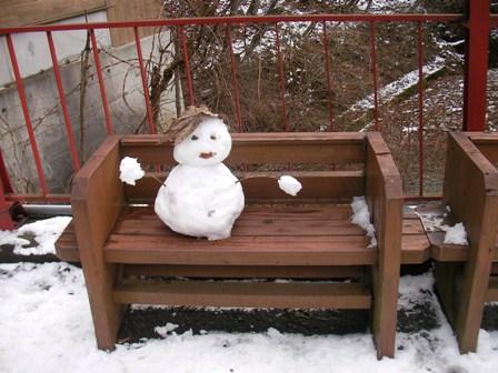 落合橋の雪だるま